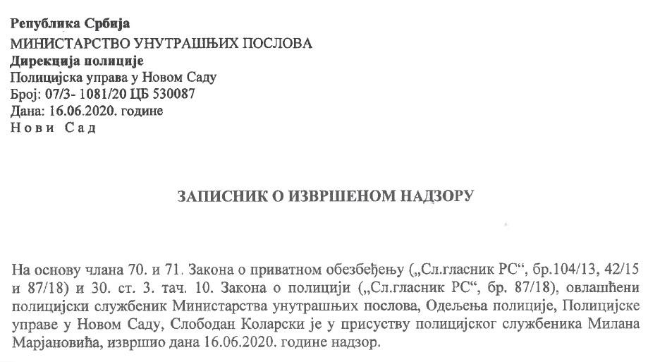 Izvršen inspekcijski nadzor u Novom Sadu